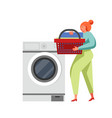 laundry cleaning company service flat vector image