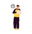 man with digital tablet cartoon male holding vector image