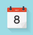 May 8 Calendar Flat Daily Icon vector image vector image