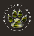military dog paw print vector image vector image