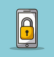 mobile phone and padlock secuirty access data vector image