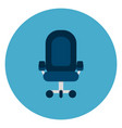 office chair icon web button on round blue vector image vector image
