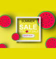 paper art of summer sale banner with watermelonup vector image vector image