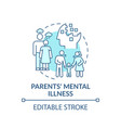 parents mental illness turquoise concept icon