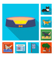 pet flat icons in set collection for design care vector image vector image