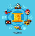 pirate treasure round composition vector image vector image
