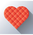 red heart mosaic of square tiles with long shadow vector image vector image