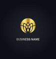 round lotus flower gold logo vector image vector image