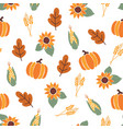seamless pattern with orange pumpkins crop vector image vector image