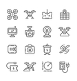 Set line icons of quadrocopter vector image vector image