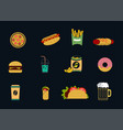 set of colored fast food icons vector image