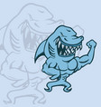 shark cartoon character with strong muscles vector image vector image