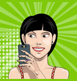 smiling girl with smartphone in hand takes a vector image