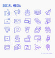 social media thin line icons set vector image vector image