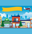 street and shop in the city in flat style vector image vector image