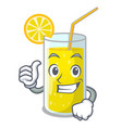thumbs up glass fresh lemon juice on mascot vector image