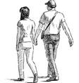 walking pair vector image vector image