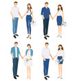 wedding couple in casual jeans costume holding vector image vector image