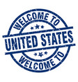 welcome to united states blue stamp vector image vector image