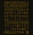 yellow led alphabet and numbers vector image
