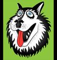 husky dog portrait cartoon portrait design vector image