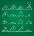 collection of mountain icons in thin line style vector image