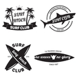 Surfing related labels set vintage vector image