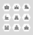 school buildings flat icons collection vector image