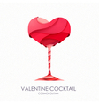 3D valentine cocktail design vector image