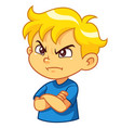 angry boy expression vector image vector image