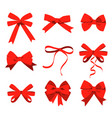 big set red gift bows with ribbons vector image vector image
