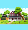 big tree falling into the roof of a house vector image