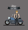 biker culture poster with blond man and classic vector image vector image