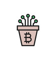 bitcoin pot with closed contacts blockchain vector image
