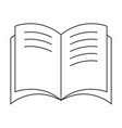 black and white open book icon with text vector image vector image