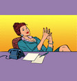 businesswoman boss sitting at the office desk vector image