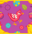 chicken with flower and painted eggs easter vector image