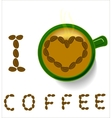 Coffee mug and the words I love coffee vector image