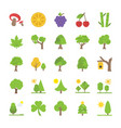 collection of trees and landscapes flat icon vector image vector image
