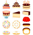 colorful cartoon 12 dessert icon set vector image vector image