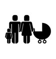 couple figure with baby cart and daughter vector image vector image