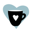 cups mug heart love hand drawn style doodle vector image vector image