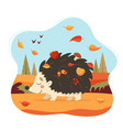cute hedgehog with autumn forest background vector image vector image