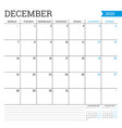 december 2020 square monthly calendar planner vector image vector image