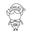 elf helper santa christmas celebration outline vector image