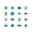 evil eyes collection contemporary modern trendy vector image
