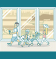family travel by plane in flat vector image vector image