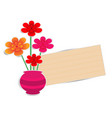 flower pot with paper note vector image vector image
