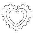 gear shape heart cartoon icon image vector image