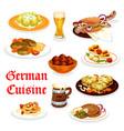 german cuisine dinner icon with oktoberfest food vector image vector image